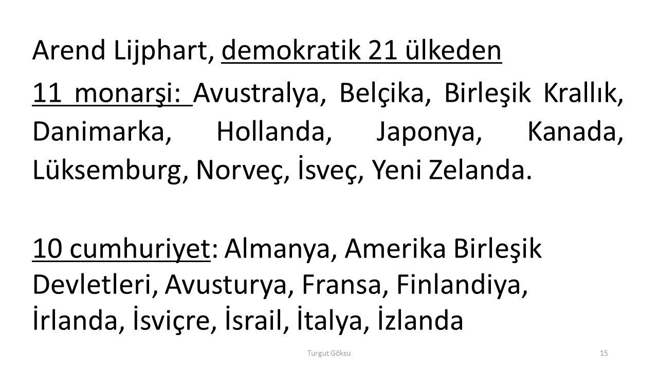 Arend Lijphart, demokratik 21 ülkeden