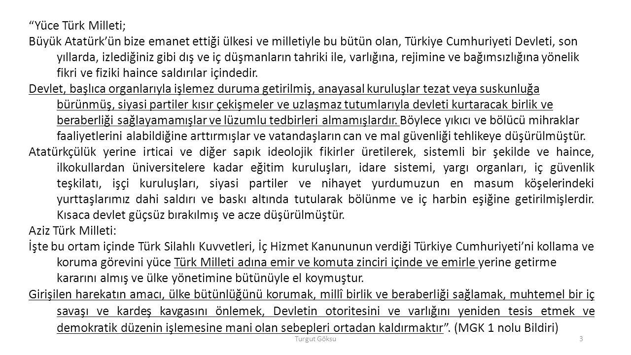 Yüce Türk Milleti;