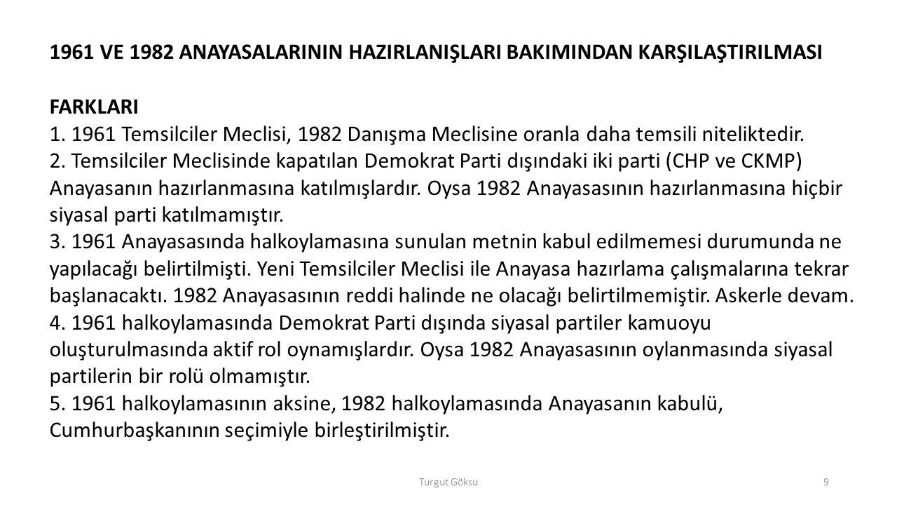 1961 VE 1982 ANAYASALARININ HAZIRLANIŞLARI BAKIMINDAN KARŞILAŞTIRILMASI