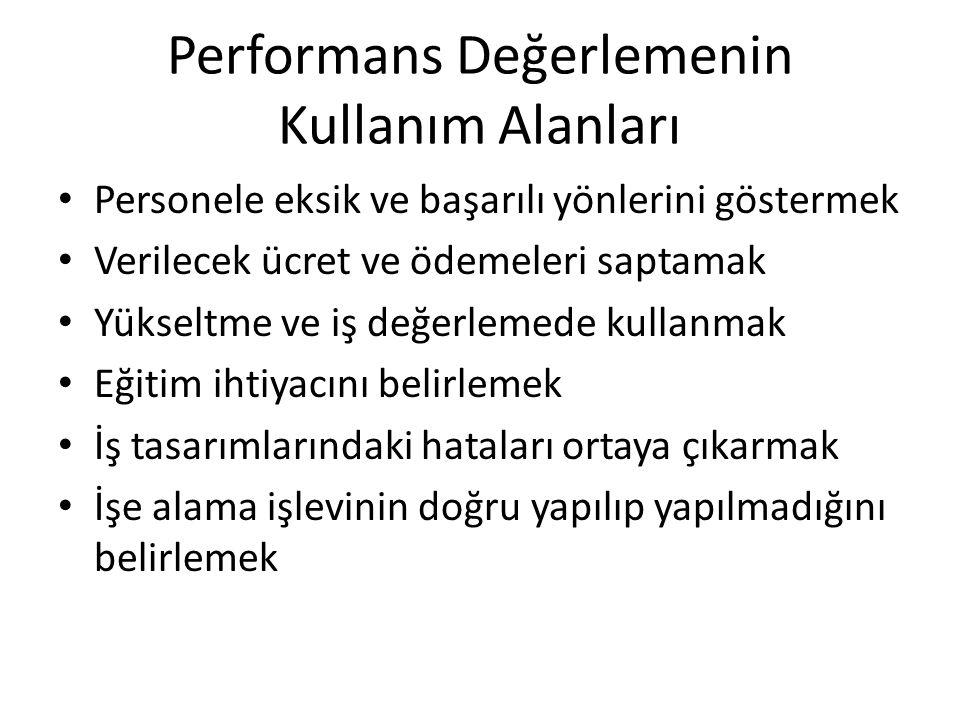 Performans Değerlemenin Kullanım Alanları