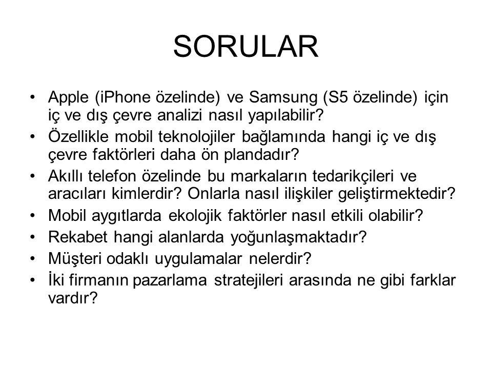 SORULAR Apple (iPhone özelinde) ve Samsung (S5 özelinde) için iç ve dış çevre analizi nasıl yapılabilir