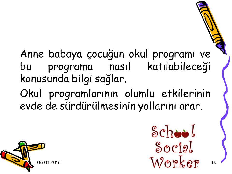 Anne babaya çocuğun okul programı ve bu programa nasıl katılabileceği konusunda bilgi sağlar. Okul programlarının olumlu etkilerinin evde de sürdürülmesinin yollarını arar.