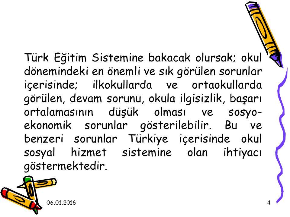 Türk Eğitim Sistemine bakacak olursak; okul dönemindeki en önemli ve sık görülen sorunlar içerisinde; ilkokullarda ve ortaokullarda görülen, devam sorunu, okula ilgisizlik, başarı ortalamasının düşük olması ve sosyo-ekonomik sorunlar gösterilebilir. Bu ve benzeri sorunlar Türkiye içerisinde okul sosyal hizmet sistemine olan ihtiyacı göstermektedir.