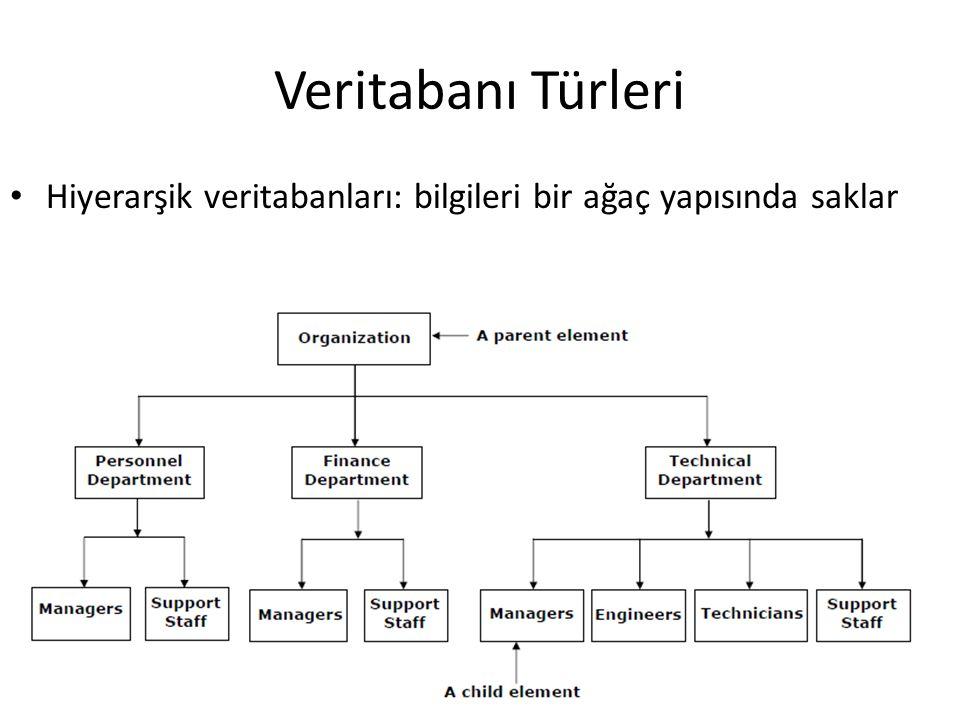 Veritabanı Türleri Hiyerarşik veritabanları: bilgileri bir ağaç yapısında saklar