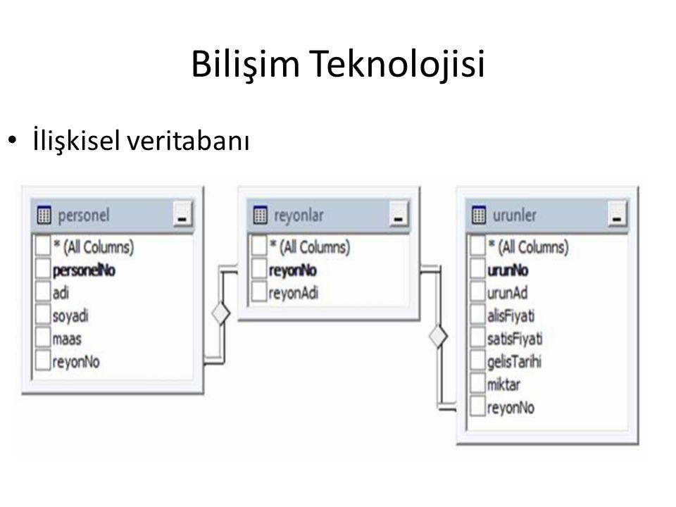 Bilişim Teknolojisi İlişkisel veritabanı