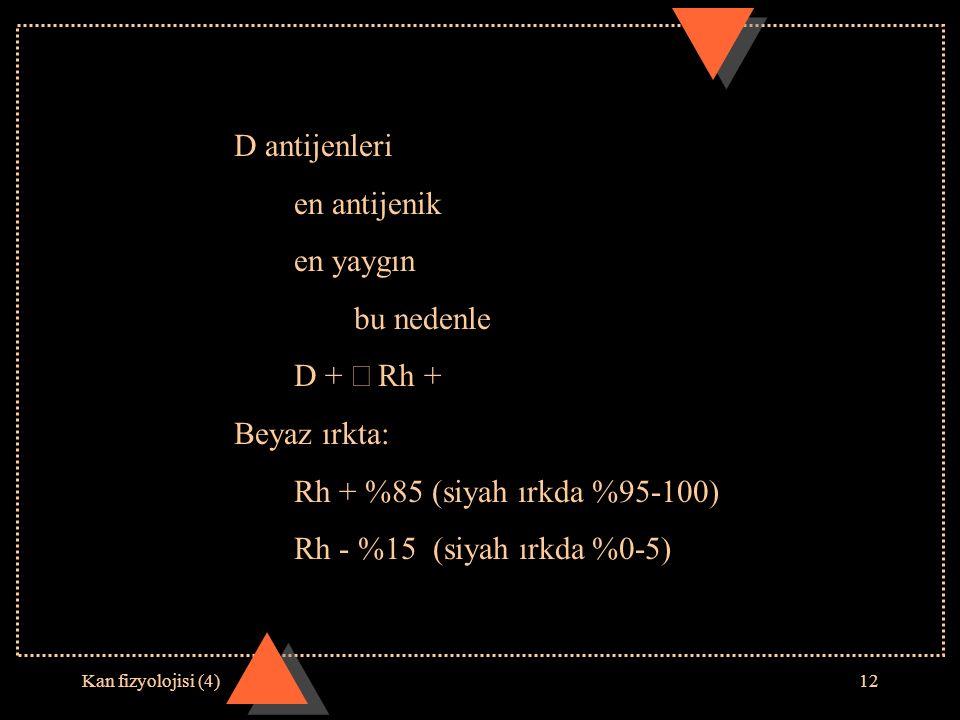 D antijenleri en antijenik en yaygın bu nedenle D + Þ Rh +