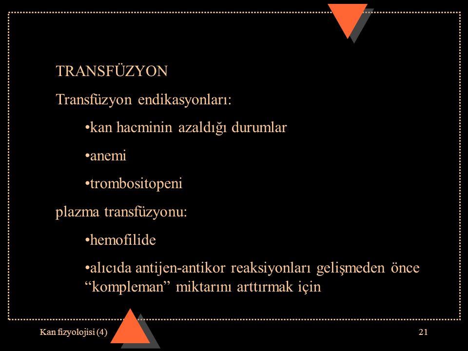 Transfüzyon endikasyonları: kan hacminin azaldığı durumlar anemi