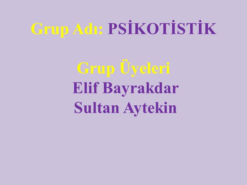 Grup Adı: PSİKOTİSTİK Grup Üyeleri Elif Bayrakdar Sultan Aytekin