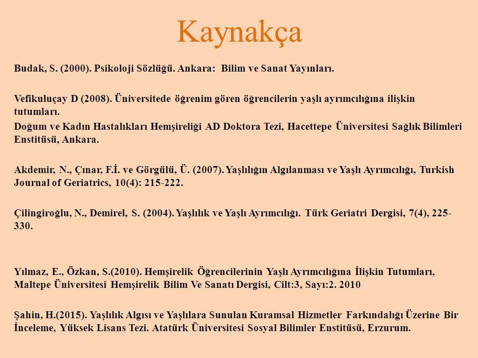 Kaynakça Budak, S. (2000). Psikoloji Sözlüğü. Ankara: Bilim ve Sanat Yayınları.