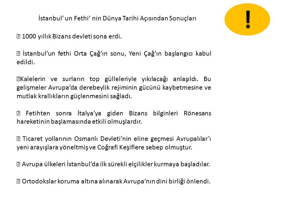 İstanbul' un Fethi' nin Dünya Tarihi Açısından Sonuçları