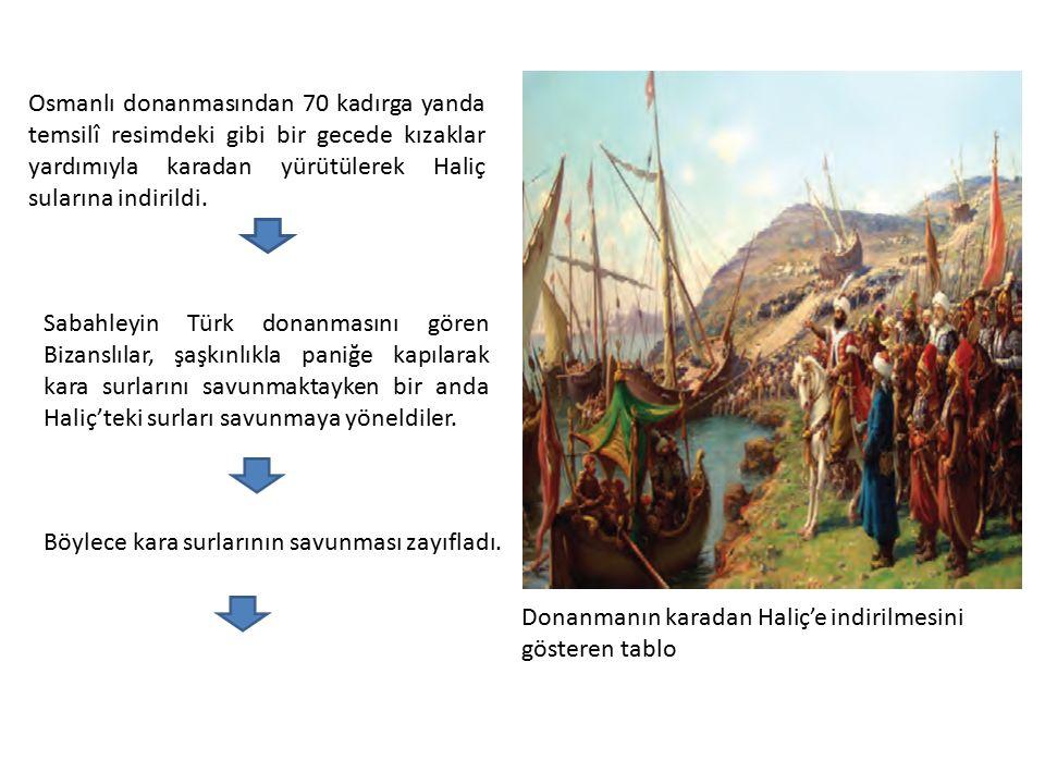 Osmanlı donanmasından 70 kadırga yanda temsilî resimdeki gibi bir gecede kızaklar yardımıyla karadan yürütülerek Haliç sularına indirildi.
