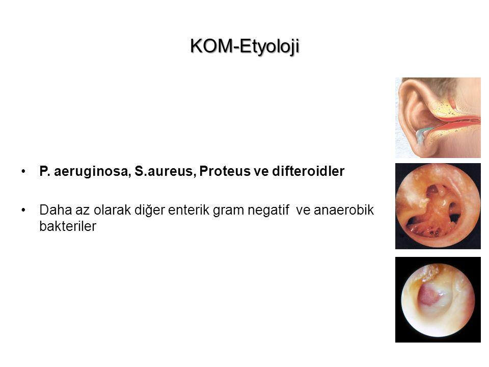KOM-Etyoloji P. aeruginosa, S.aureus, Proteus ve difteroidler