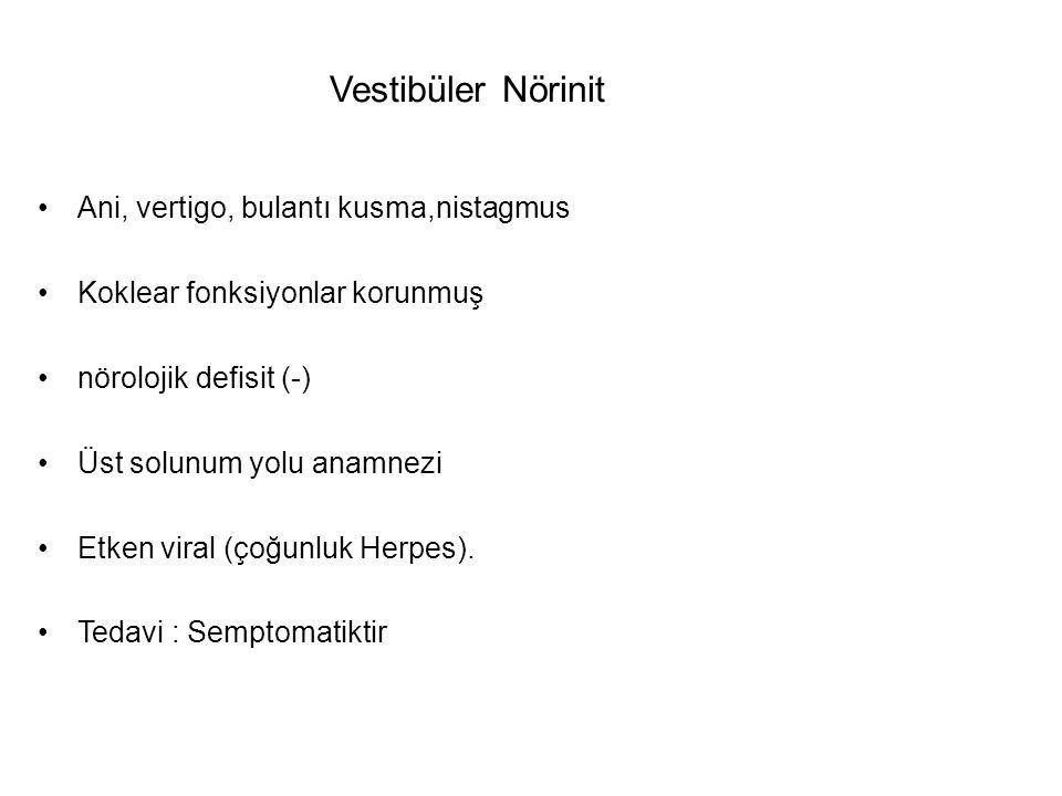 Vestibüler Nörinit Ani, vertigo, bulantı kusma,nistagmus