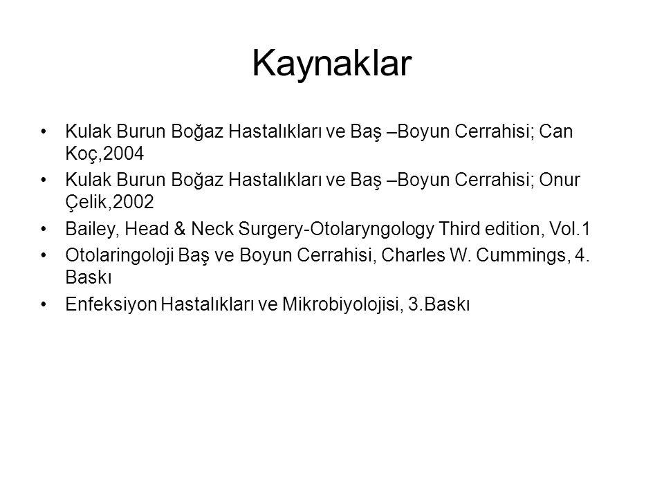 Kaynaklar Kulak Burun Boğaz Hastalıkları ve Baş –Boyun Cerrahisi; Can Koç,2004.