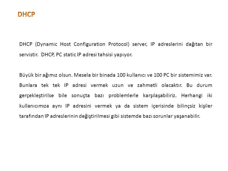 DHCP DHCP (Dynamic Host Configuration Protocol) server, IP adreslerini dağıtan bir servistir. DHCP, PC static IP adresi tahsisi yapıyor.