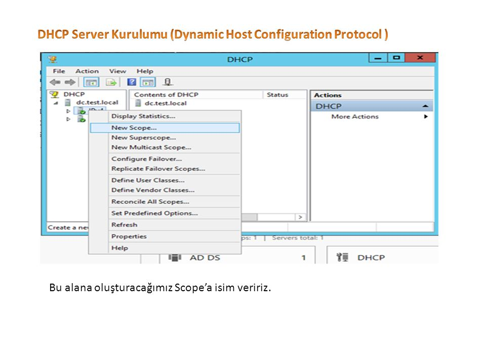 DHCP Server Kurulumu (Dynamic Host Configuration Protocol )