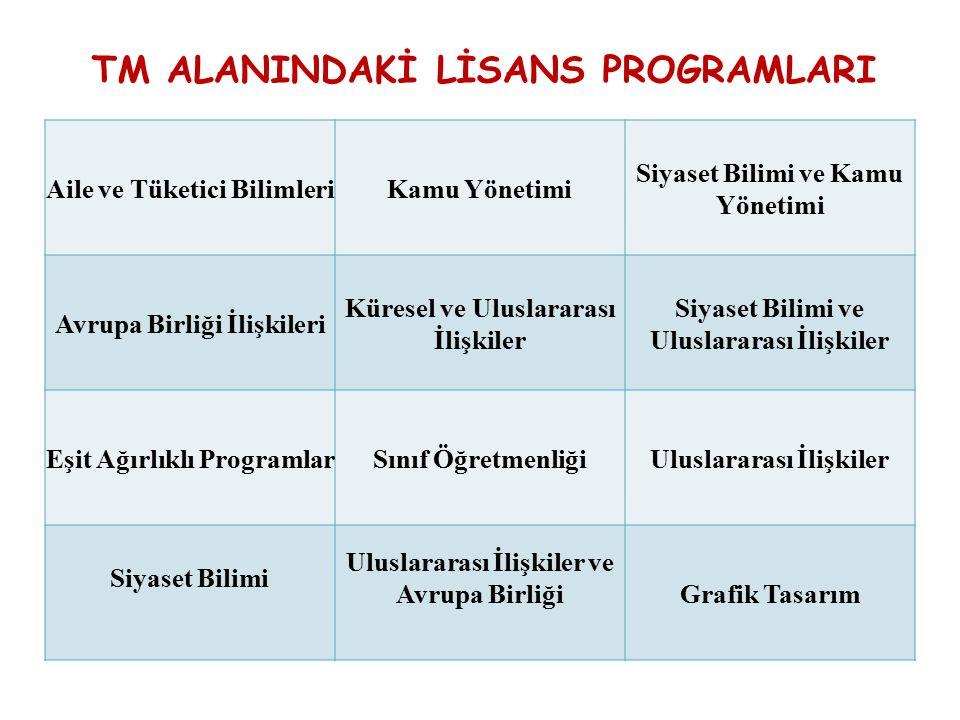 TM ALANINDAKİ LİSANS PROGRAMLARI