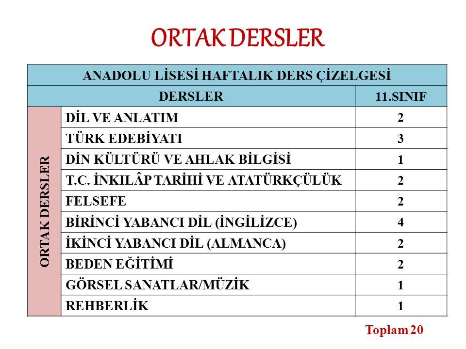 ANADOLU LİSESİ HAFTALIK DERS ÇİZELGESİ