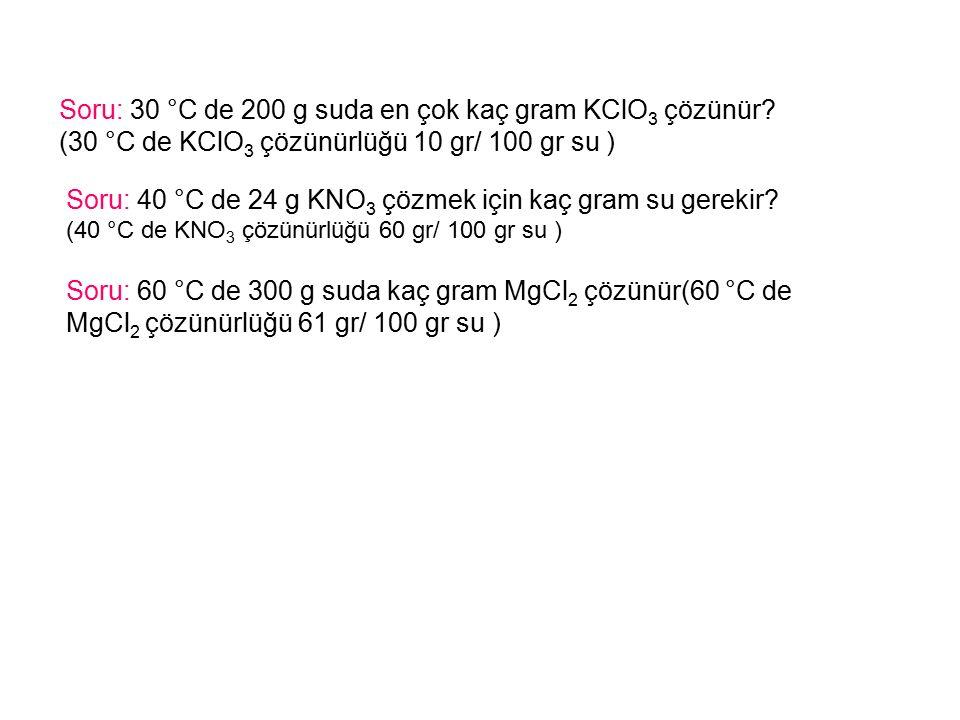Soru: 30 °C de 200 g suda en çok kaç gram KClO3 çözünür