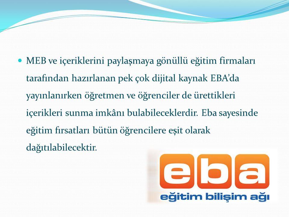 MEB ve içeriklerini paylaşmaya gönüllü eğitim firmaları tarafından hazırlanan pek çok dijital kaynak EBA'da yayınlanırken öğretmen ve öğrenciler de ürettikleri içerikleri sunma imkânı bulabileceklerdir.