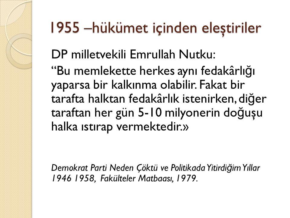 1955 –hükümet içinden eleştiriler