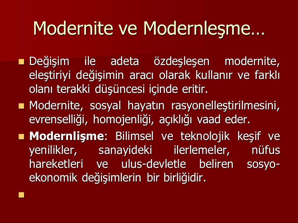 Modernite ve Modernleşme…