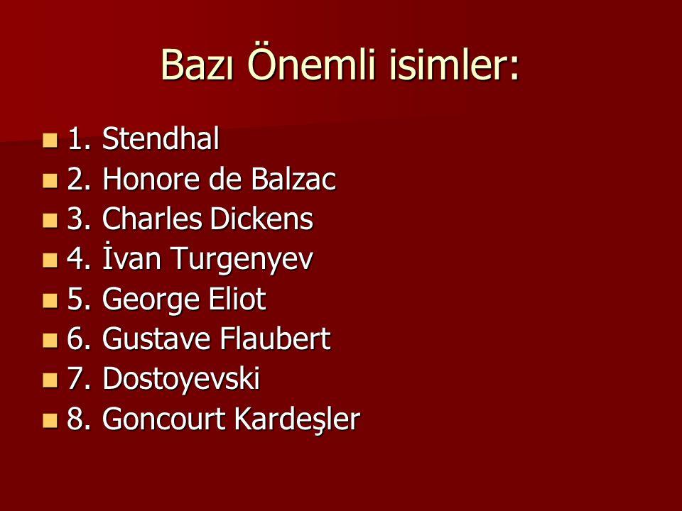 Bazı Önemli isimler: 1. Stendhal 2. Honore de Balzac
