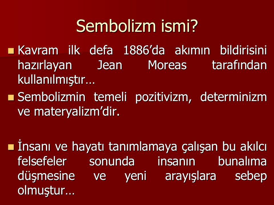 Sembolizm ismi Kavram ilk defa 1886'da akımın bildirisini hazırlayan Jean Moreas tarafından kullanılmıştır…