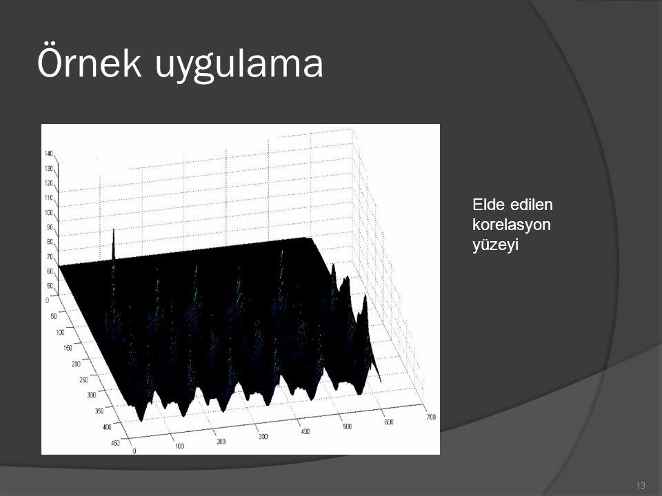 Örnek uygulama Elde edilen korelasyon yüzeyi
