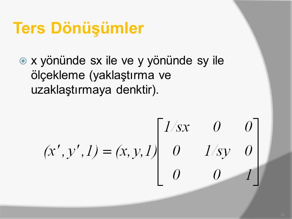 Ters Dönüşümler x yönünde sx ile ve y yönünde sy ile ölçekleme (yaklaştırma ve uzaklaştırmaya denktir).