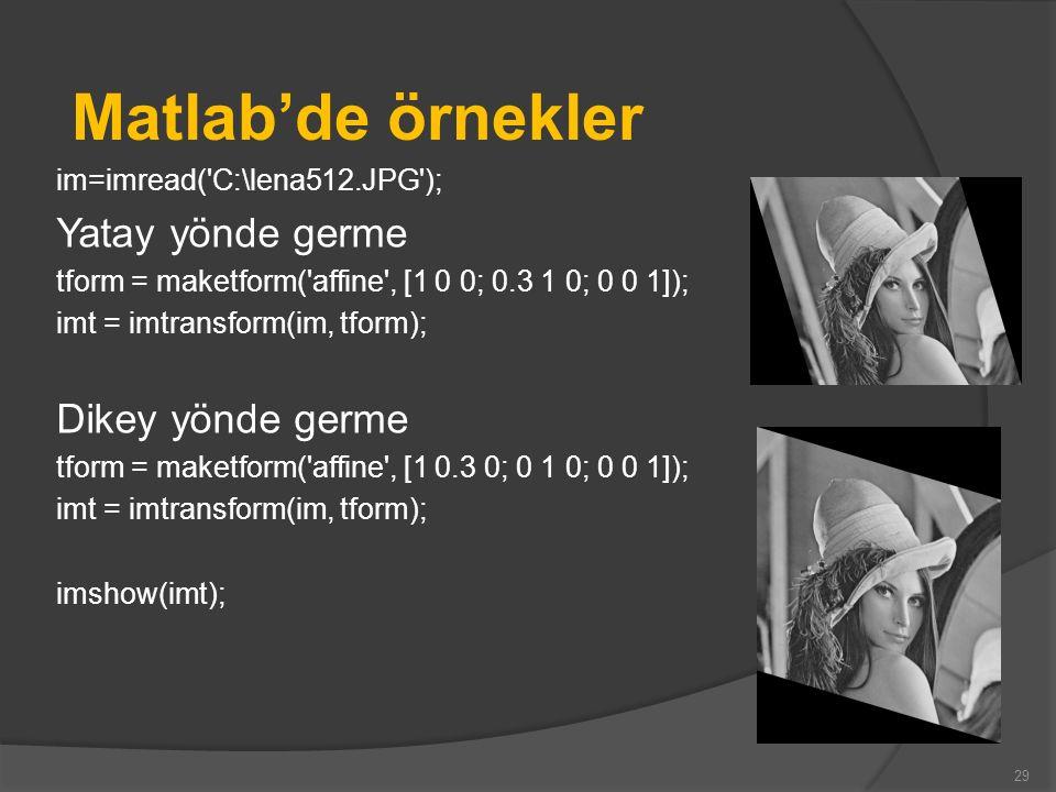 Matlab'de örnekler Yatay yönde germe Dikey yönde germe