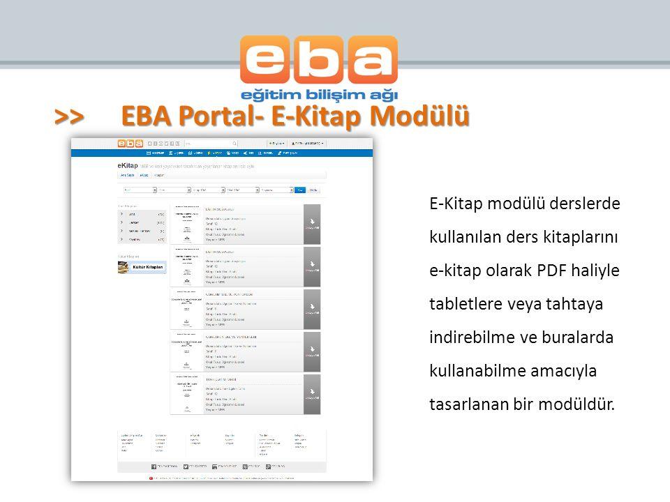 >> EBA Portal- E-Kitap Modülü
