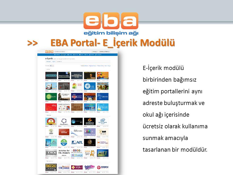 >> EBA Portal- E_İçerik Modülü