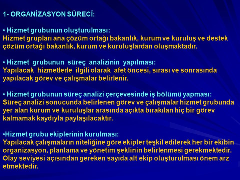 1- ORGANİZASYON SÜRECİ: