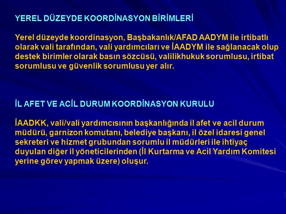 YEREL DÜZEYDE KOORDİNASYON BİRİMLERİ