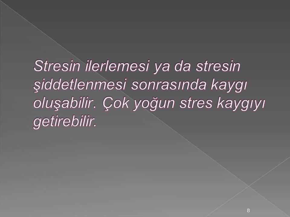 Stresin ilerlemesi ya da stresin şiddetlenmesi sonrasında kaygı oluşabilir.