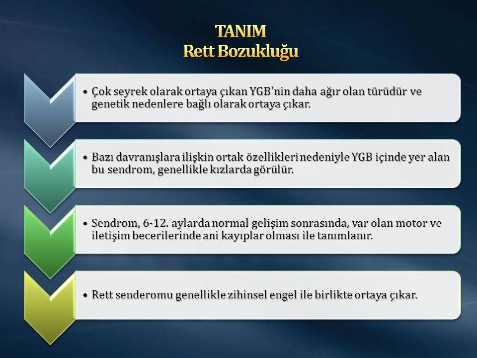 TANIM Rett Bozukluğu Çok seyrek olarak ortaya çıkan YGB nin daha ağır olan türüdür ve genetik nedenlere bağlı olarak ortaya çıkar.