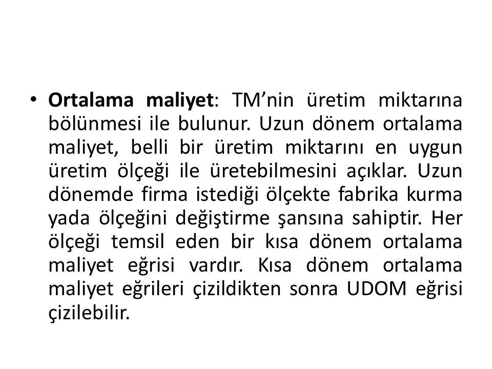 Ortalama maliyet: TM'nin üretim miktarına bölünmesi ile bulunur