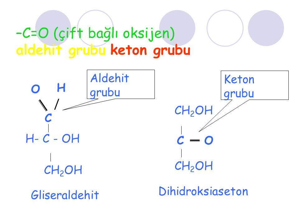 –C=O (çift bağlı oksijen) aldehit grubu keton grubu