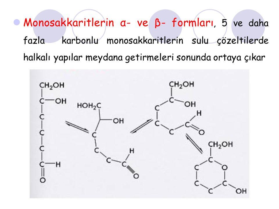 Monosakkaritlerin α- ve β- formları, 5 ve daha fazla karbonlu monosakkaritlerin sulu çözeltilerde halkalı yapılar meydana getirmeleri sonunda ortaya çıkar