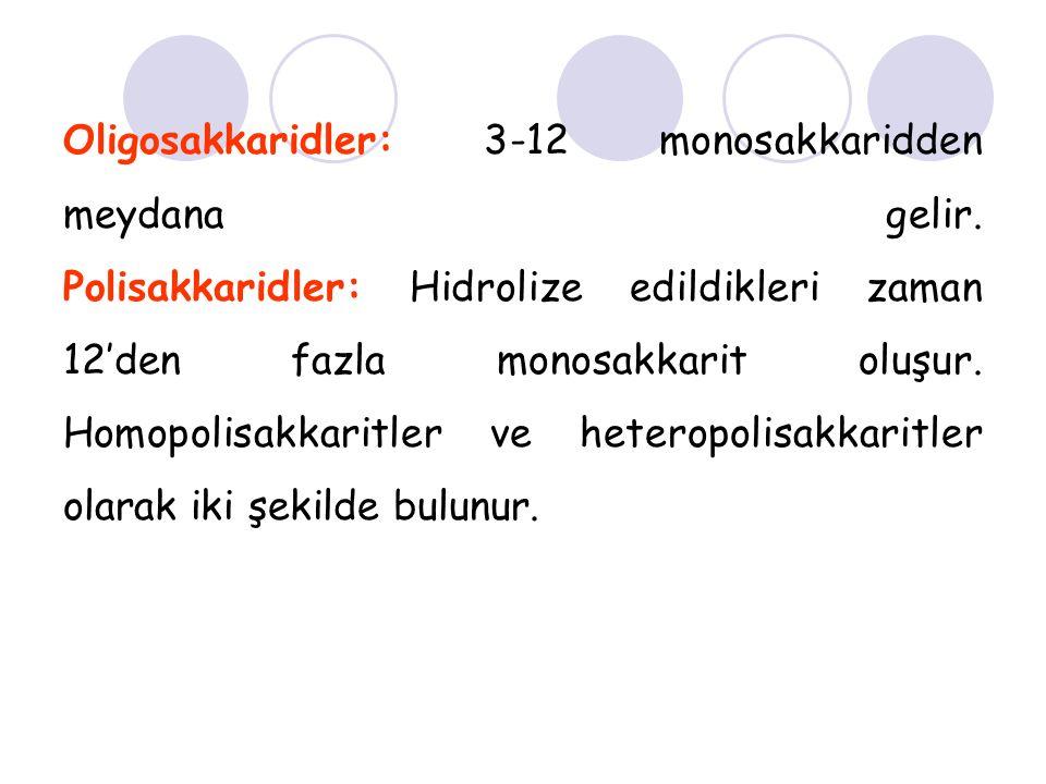 Oligosakkaridler: 3-12 monosakkaridden meydana gelir
