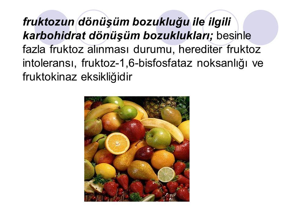 fruktozun dönüşüm bozukluğu ile ilgili karbohidrat dönüşüm bozuklukları; besinle fazla fruktoz alınması durumu, herediter fruktoz intoleransı, fruktoz-1,6-bisfosfataz noksanlığı ve fruktokinaz eksikliğidir