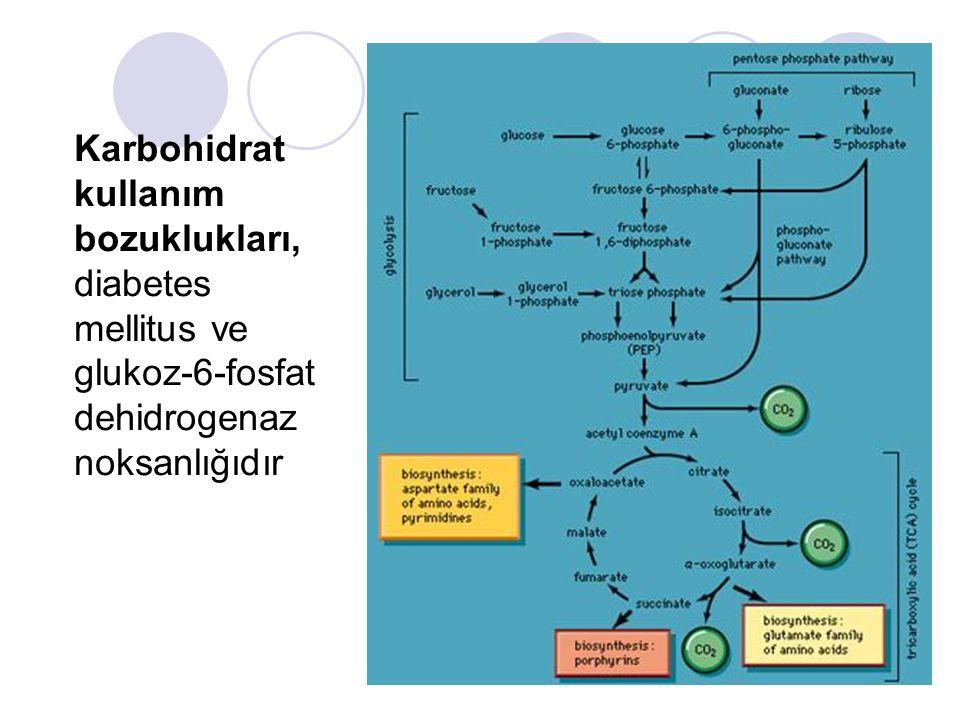 Karbohidrat kullanım bozuklukları, diabetes mellitus ve glukoz-6-fosfat dehidrogenaz noksanlığıdır