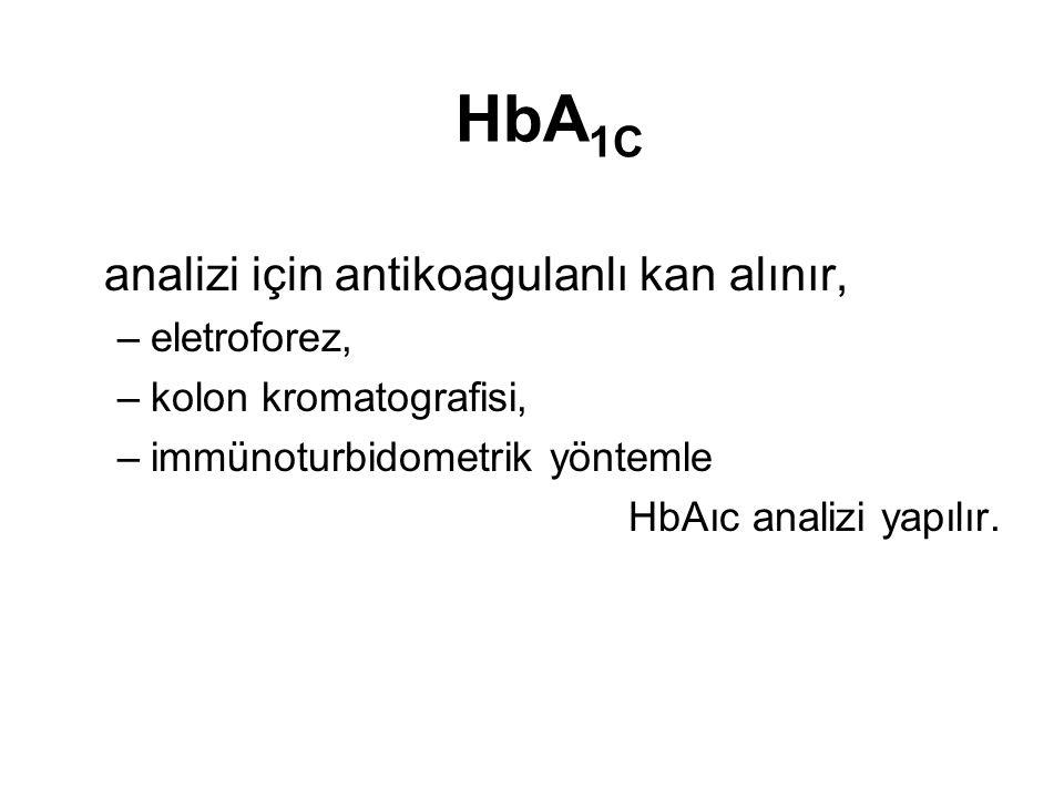 HbA1C analizi için antikoagulanlı kan alınır, eletroforez,