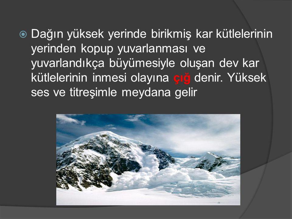 Dağın yüksek yerinde birikmiş kar kütlelerinin yerinden kopup yuvarlanması ve yuvarlandıkça büyümesiyle oluşan dev kar kütlelerinin inmesi olayına çığ denir.