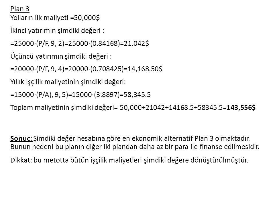 Plan 3 Yolların ilk maliyeti =50,000$ İkinci yatırımın şimdiki değeri : =25000·(P/F, 9, 2)=25000·(0.84168)=21,042$