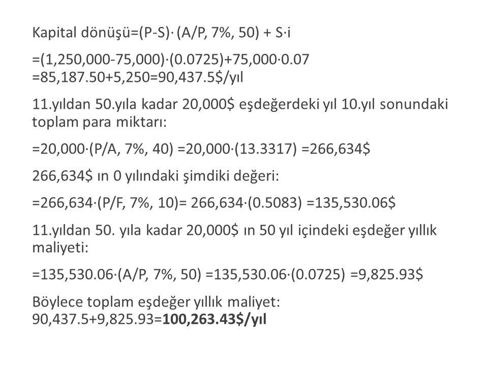 Kapital dönüşü=(P-S)· (A/P, 7%, 50) + S·i