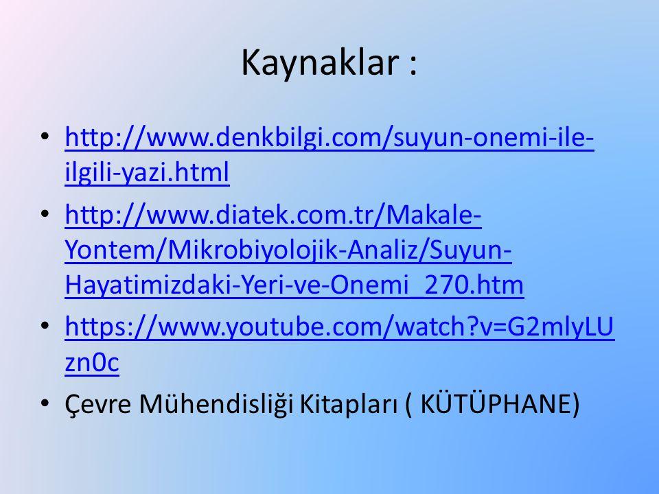Kaynaklar : http://www.denkbilgi.com/suyun-onemi-ile-ilgili-yazi.html