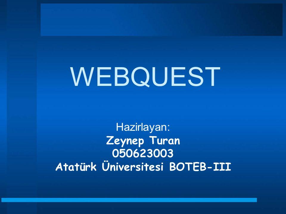 Hazirlayan: Zeynep Turan 050623003 Atatürk Üniversitesi BOTEB-III