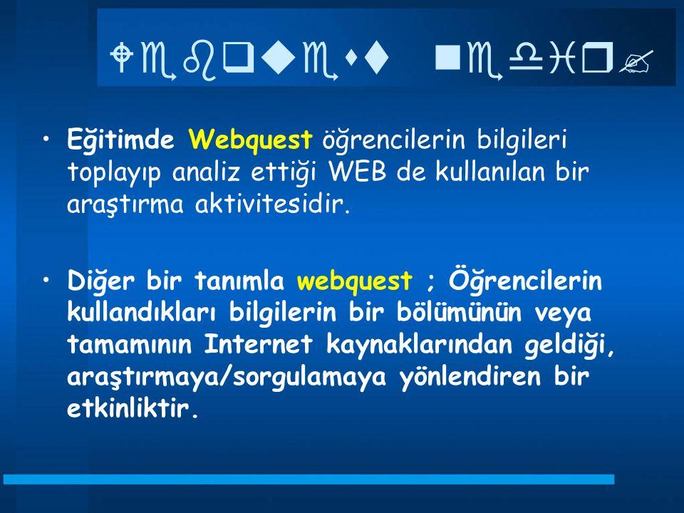 Webquest nedir Eğitimde Webquest öğrencilerin bilgileri toplayıp analiz ettiği WEB de kullanılan bir araştırma aktivitesidir.